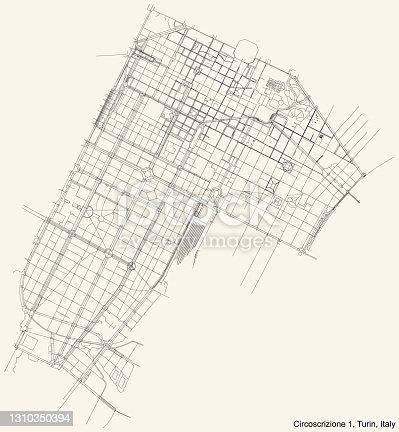 istock Street roads map of the borough Circoscrizione 1 (Centro, Crocetta) of Turin, Italy 1310350394