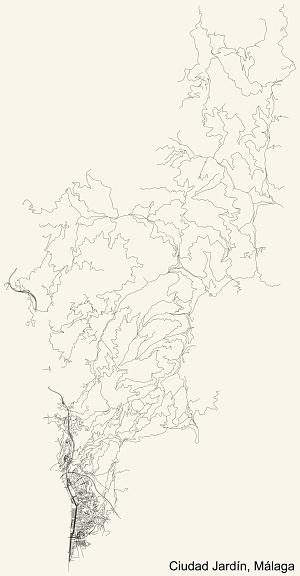 Street roads map of the Ciudad Jardín district of Malaga, Spain