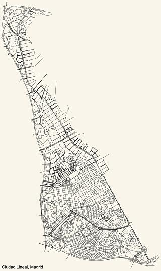 Street roads map of the Ciudad Lineal neighborhood of Madrid, Spain