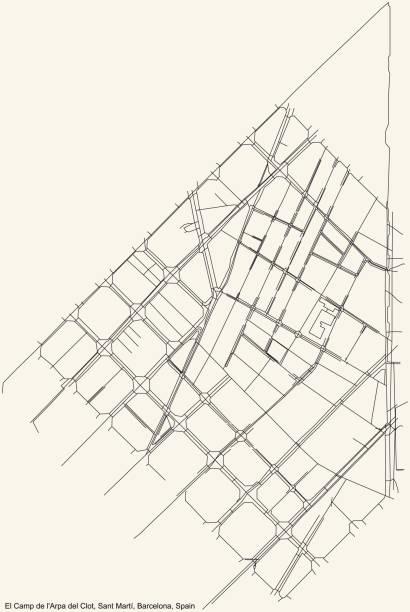 Street roads map of the El Camp de l'Arpa del Clot neighbourhood of the Sant Martí district Black simple detailed street roads map on vintage beige background of the El Camp de l'Arpa del Clot neighbourhood of the Sant Martí district of Barcelona, Spain ARPA stock illustrations
