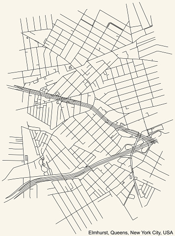Street roads map of the Elmhurst neighborhood of the Queens borough of New York City, USA