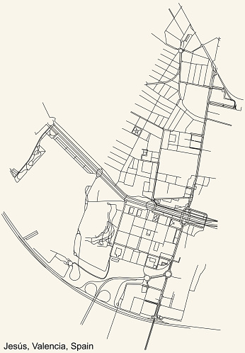 Street roads map of the Jesús district of Valencia, Spain