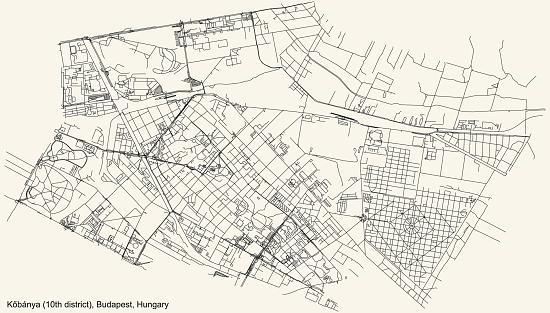 Street roads map of the Kőbánya 10th district (X kerület) of Budapest, Hungary