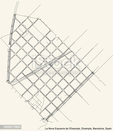 istock Street roads map of the La Nova Esquerra de l'Eixample neighbourhood of the Eixample district 1303072803