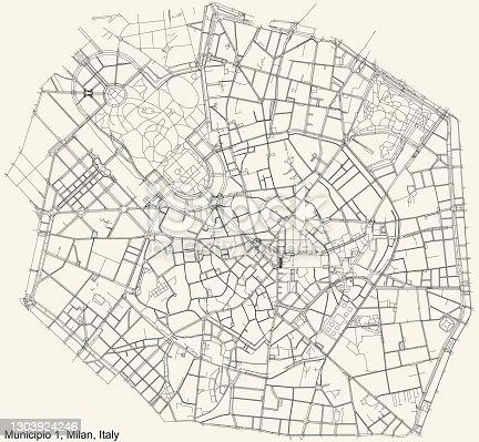 istock Street roads map of the Municipio 1 Zone of Milan, Italy (Centro storico) 1303924246