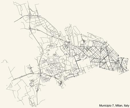 Street roads map of the Municipio 7 Zone of Milan, Italy (Baggio, De Angeli, San Siro)