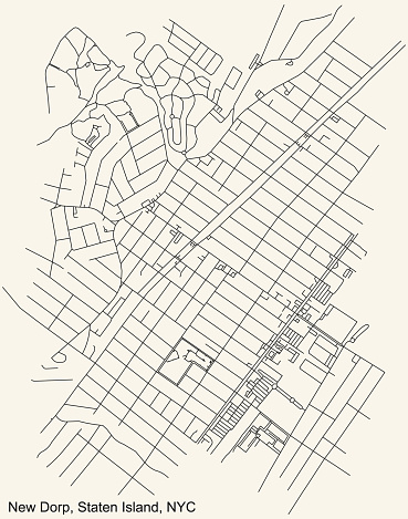 Street roads map of the New Dorp neighborhood of the Staten Island borough of New York City, USA
