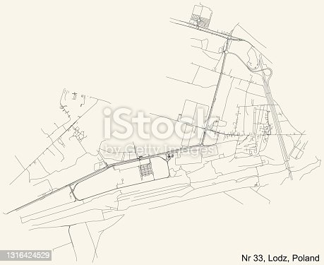 istock Street roads map of the Osiedle nr 33 district of Lodz, Poland 1316424529