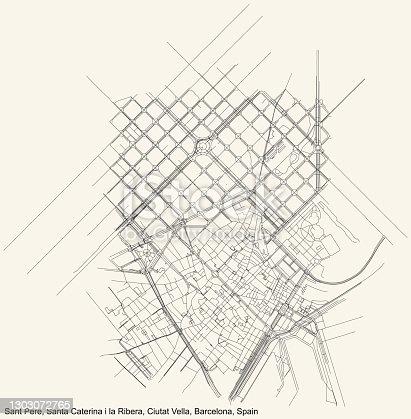 istock Street roads map of the Sant Pere, Santa Caterina i la Ribera neighbourhood of the Ciutat Vella district 1303072765