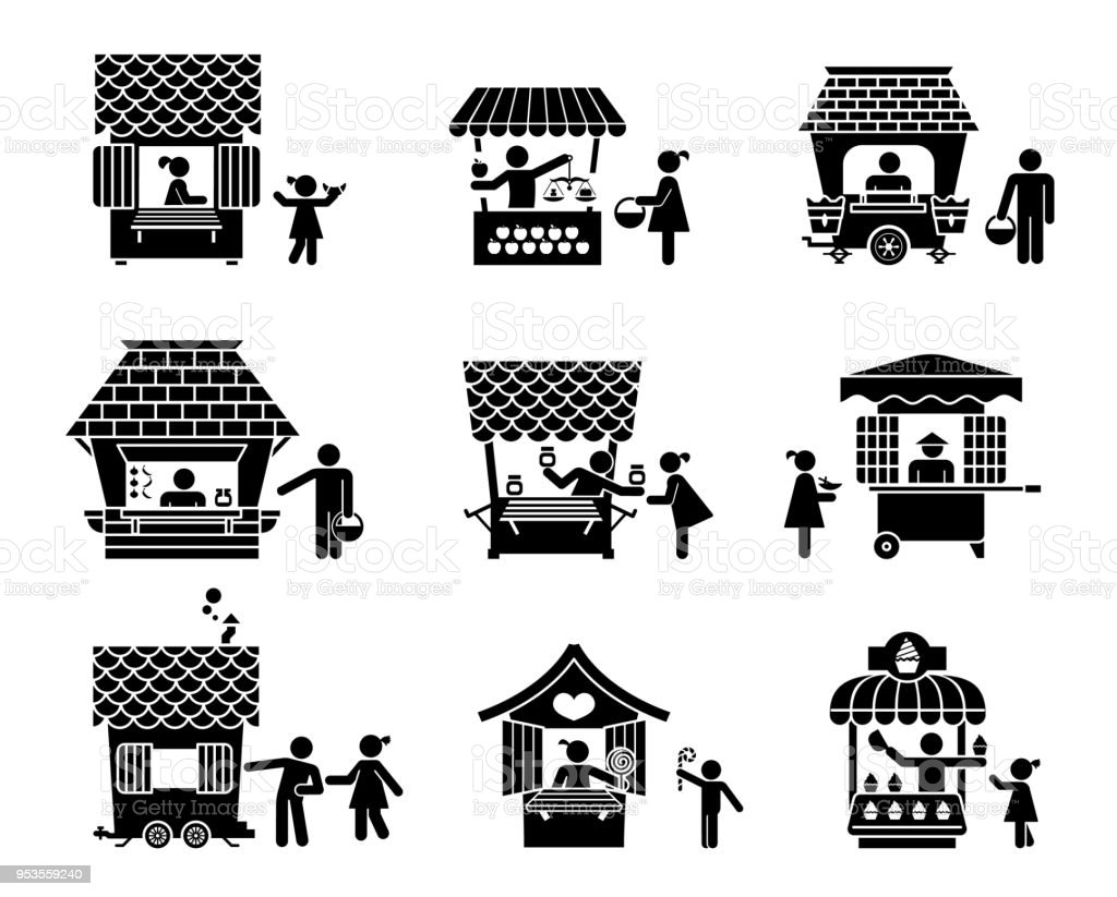 Exhibition Stall Vector : Street sellers and market stalls presented as pictograms