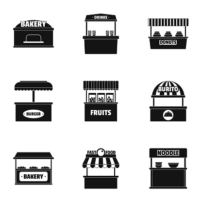 Street shop icons set, simple style