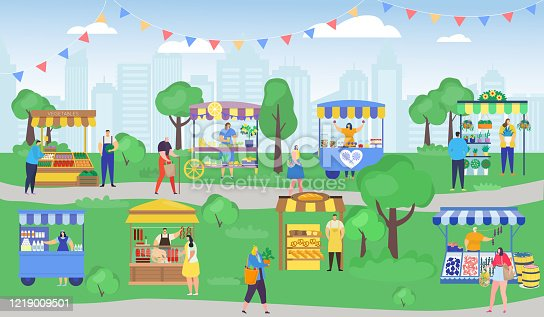 Street shop market vector illustration. Cartoon flat people shopping, woman man characters with shopper bag buying food, flowers at outdoor kiosk stall. City summer fair marketplace, retail background