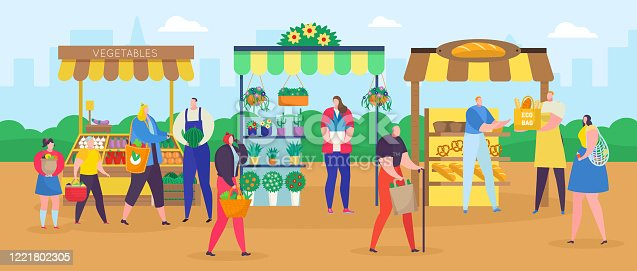 Street shop market vector illustration. Cartoon flat people shopping with shopper bag, woman man characters buying food, vegetables and flowers at outdoor marketplace. City summer fair background