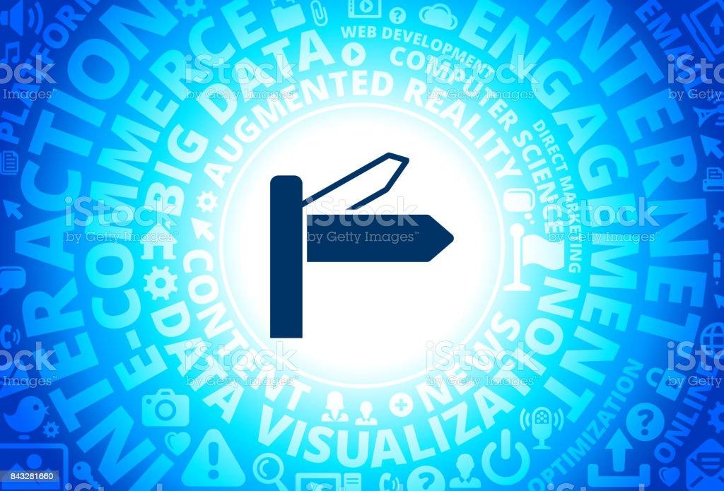 Street Sign Icon on Internet Modern Technology Words Background vector art illustration