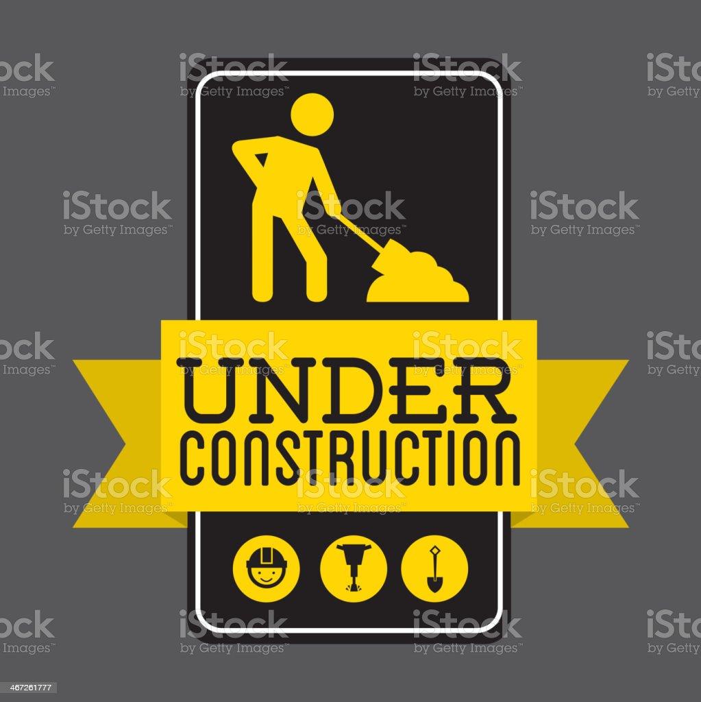 A street sign saying under construction vector art illustration