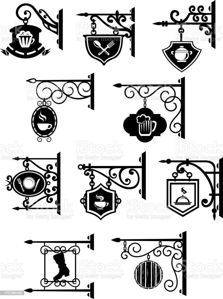 Street signboards with forged brackets vector art illustration