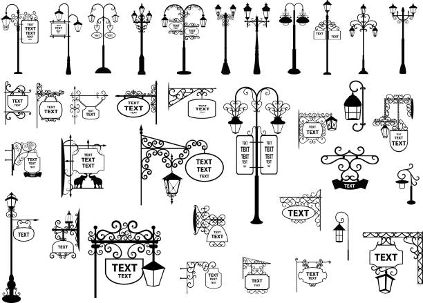 stockillustraties, clipart, cartoons en iconen met straatnaamborden en lantaarns - straatlamp