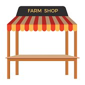 Street stall with wooden rack. Vector illustration
