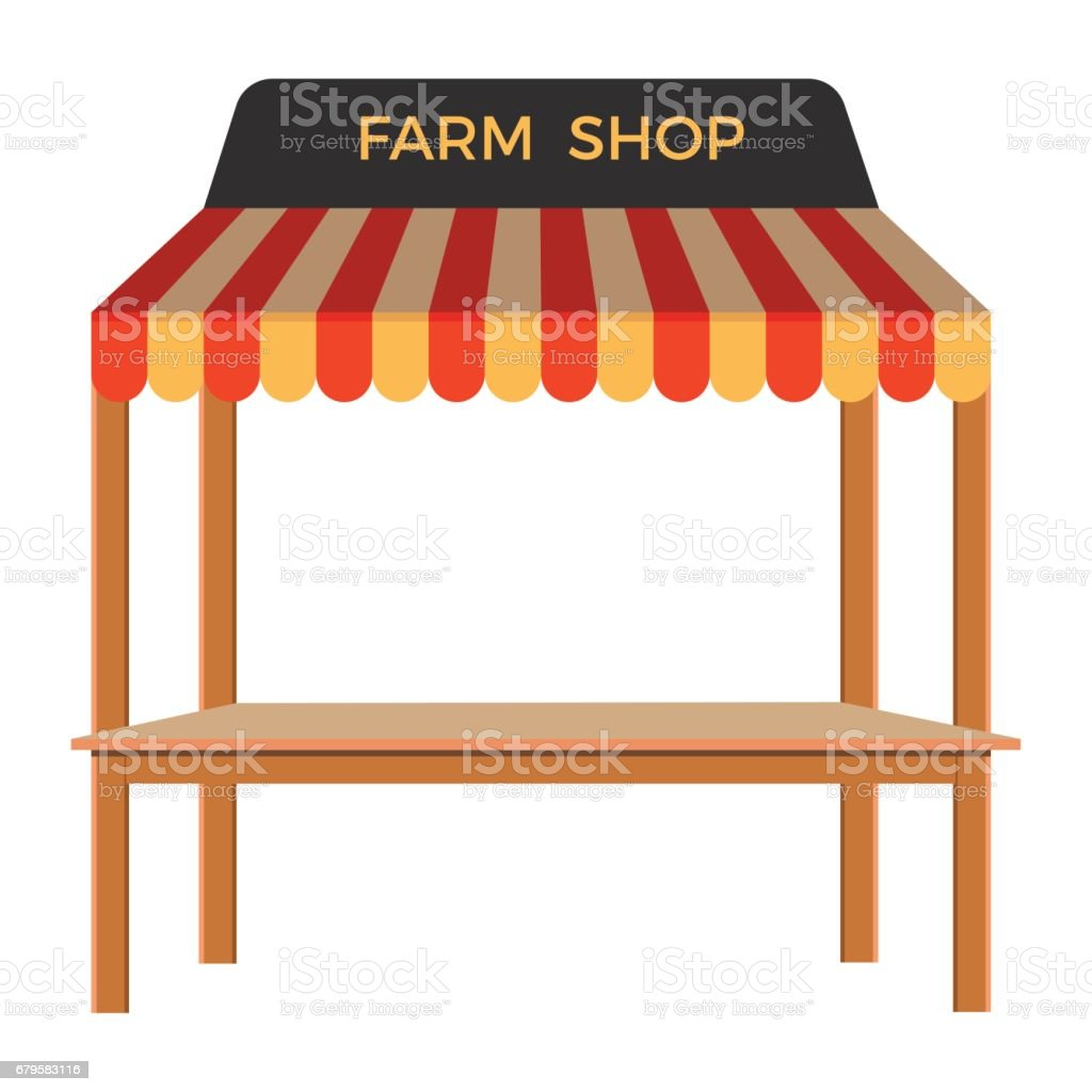 Street stall with wooden rack. - ilustração de arte em vetor