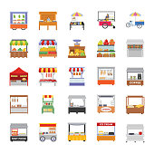 A set of street stall flat icons is representing the colorful and yummiest food stalls with the small business ideas regarding street market. In this amazing pack, you can find almost every item regarding small market and street market having stalls of different food items and househols suchs as: vegetble stalll, fruit stall, fast food, beverages, meat shop and so on. Hold this pack to be used in related projects.