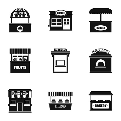 Street store icons set, simple style