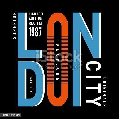 istock street style london typography design for t shirt - vector illustration 1301932319