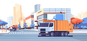 street sweeper machine and garbage truck moving on city asphalt road urban sanitary vehicle cleaning service concept cityscape background flat horizontal vector illustration