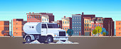 street sweeper truck washing asphalt with water industrial vehicle cleaning machine urban road service concept modern city buildings cityscape background flat horizontal vector illustration