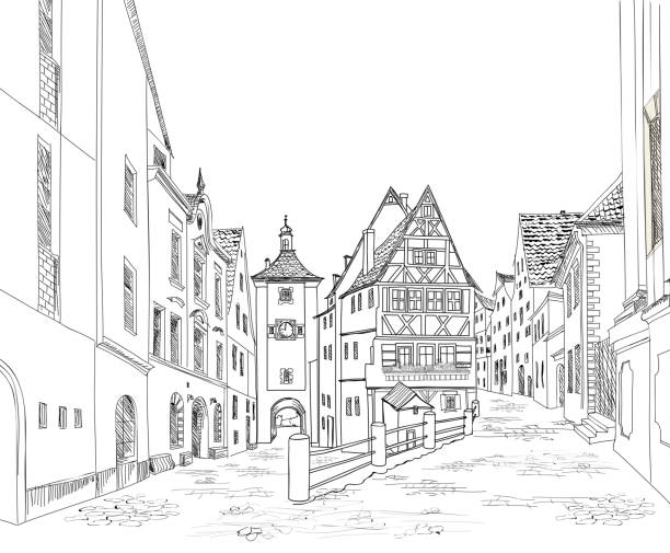 stockillustraties, clipart, cartoons en iconen met street view. city road. urban landscape. cityscape sketch - vakwerk