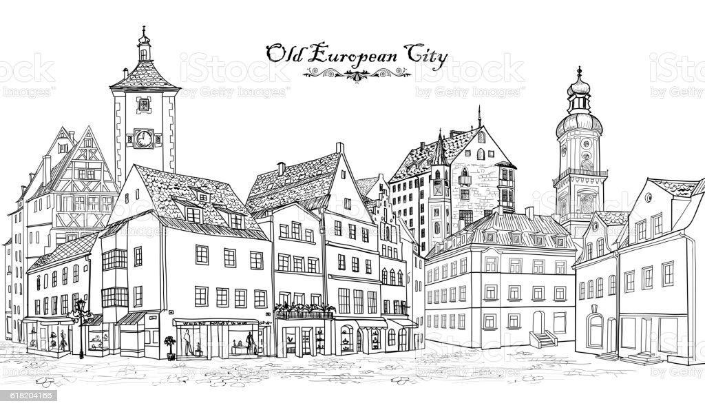 Street view. European city square: cafe, shops, tower, buildings. Cityscape vector art illustration