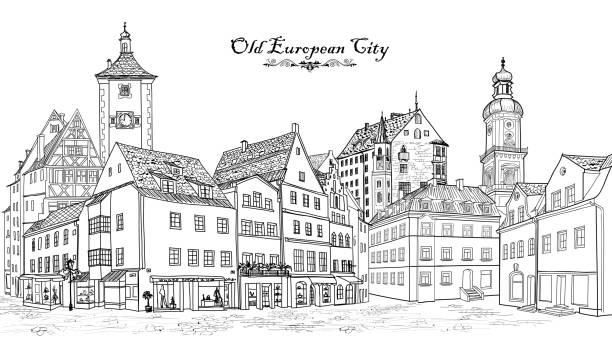 bildbanksillustrationer, clip art samt tecknat material och ikoner med street view. european city square: cafe, shops, tower, buildings. cityscape - gränd