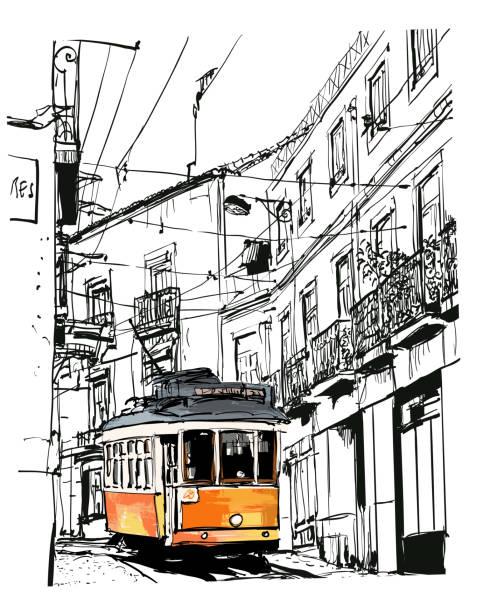 widok na ulicę ze słynnym starym tramwajem w lizbonie, portugalia - lizbona stock illustrations