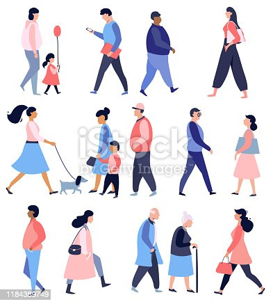 Street walking people, collection of male and female flat cartoon characters, vector illustration , flat design