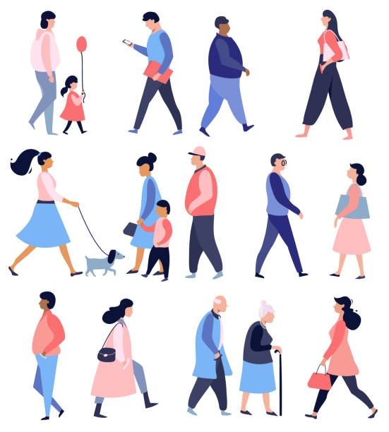 Street walking people. Street walking people, collection of male and female flat cartoon characters, vector illustration , flat design characters stock illustrations