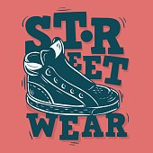 Street Wear Label Design With A Sneaker Illustration. Vector Gra