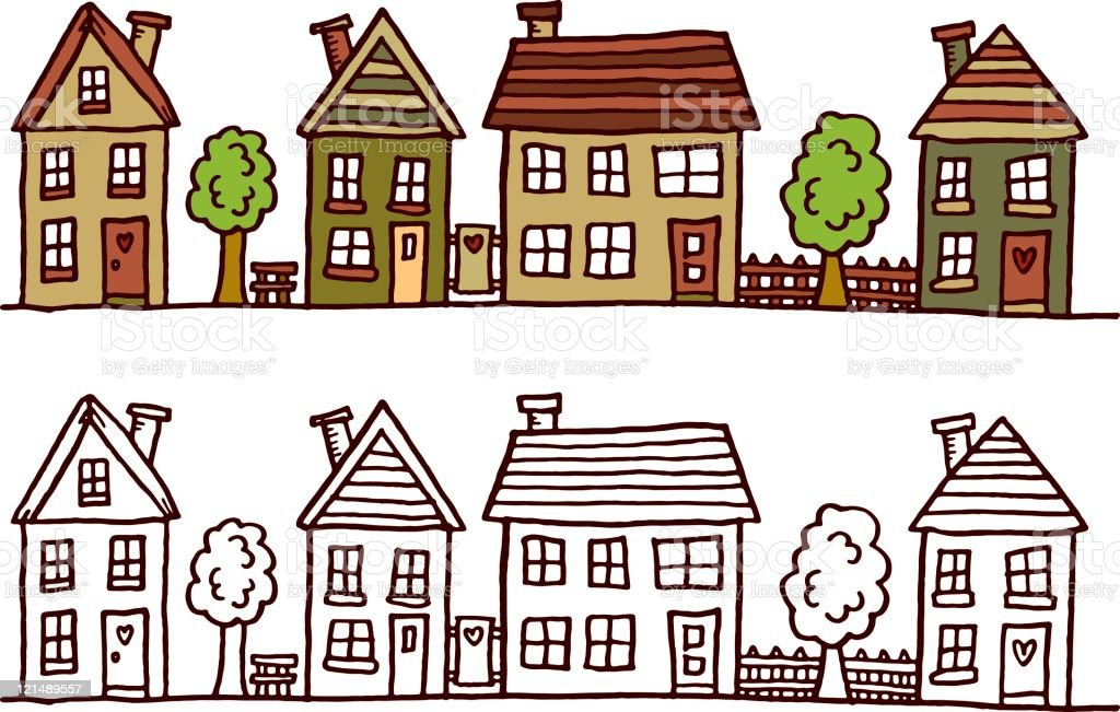 Street with buildings royalty-free stock vector art