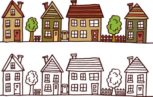 Straße mit Gebäuden – Vektorgrafik