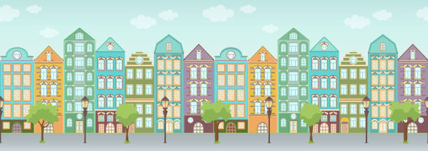 Street with colorful houses, trees and lanterns, seamless border, urban landscape, old city background. Multicolored European houses in row with blue sky and clouds, flat drawing, vector Street with colorful houses, trees and lanterns, seamless border, urban landscape, old city background. Multicolored European houses in row with blue sky and clouds, flat drawing, vector illustration dollhouse stock illustrations