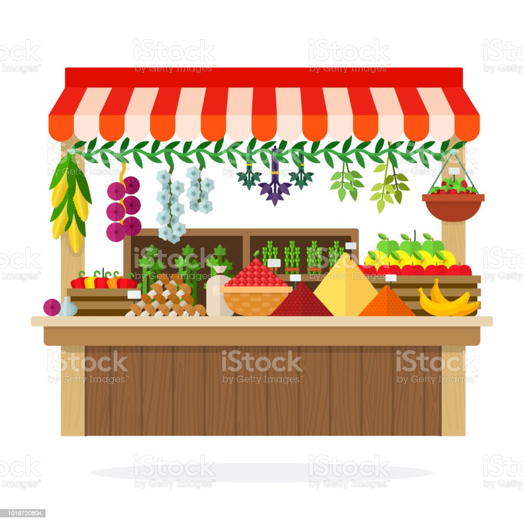 Street Wooden Vegetable Kiosk Vector Flat Material Design