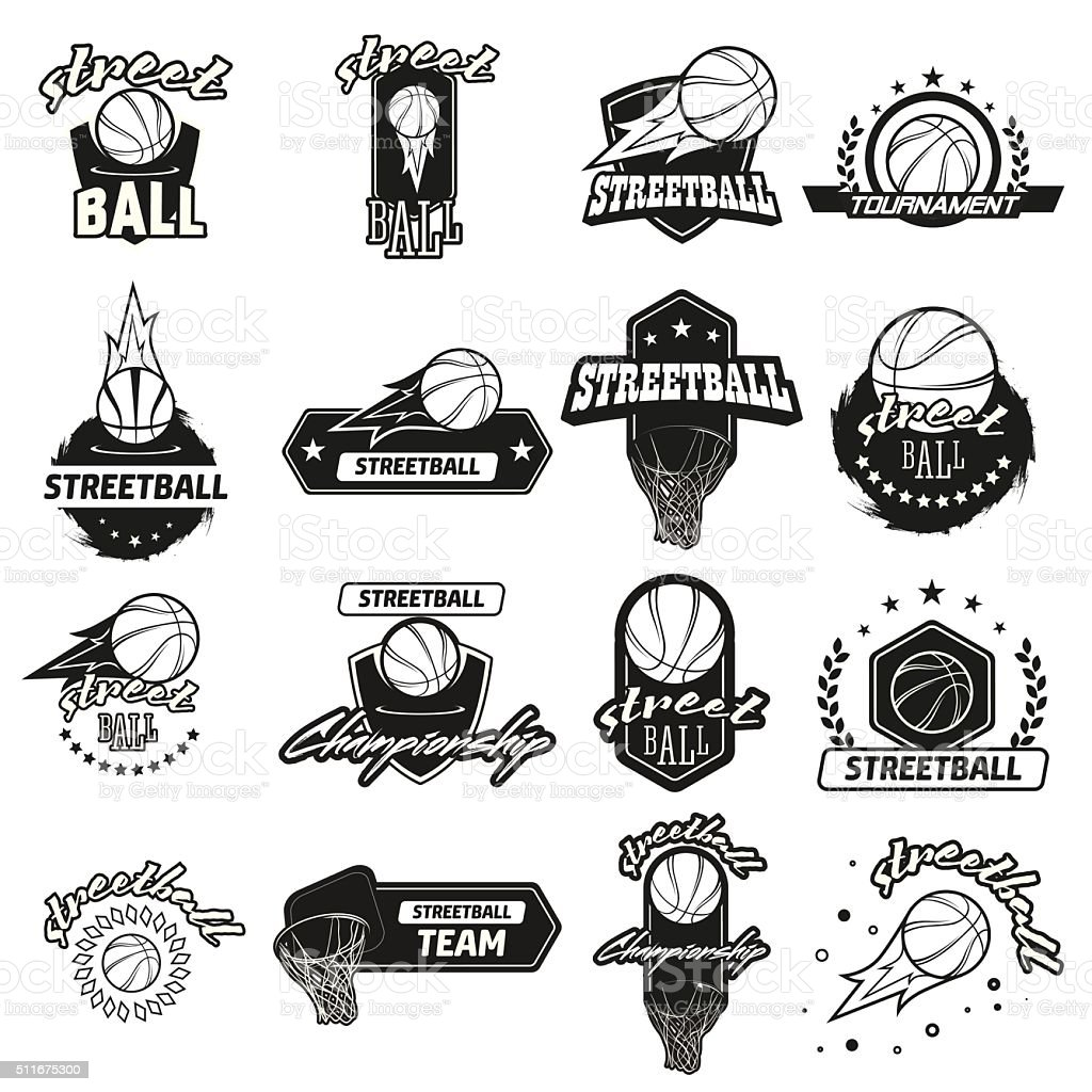 Streetball logo set vector art illustration
