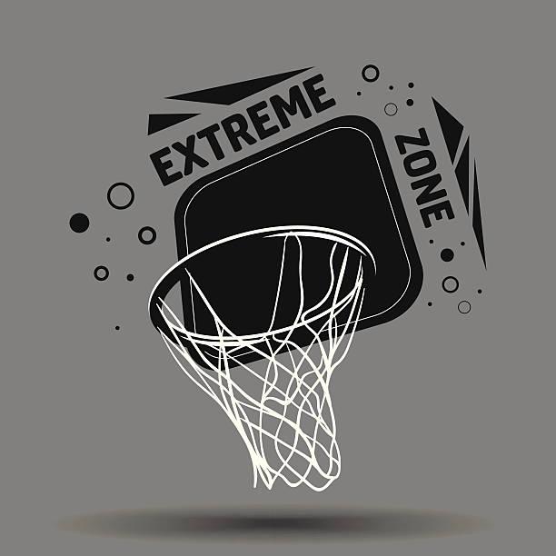 ilustraciones, imágenes clip art, dibujos animados e iconos de stock de streetball logotipo - basketball hoop