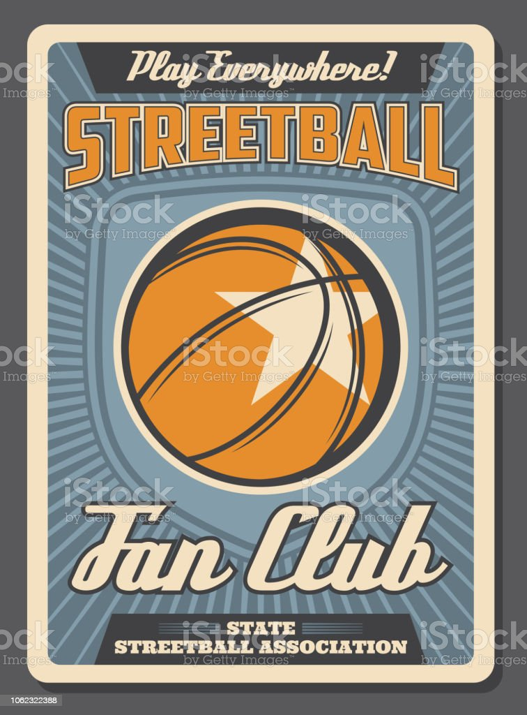 Streetball retro poster for team fan club or sport training. Vector...