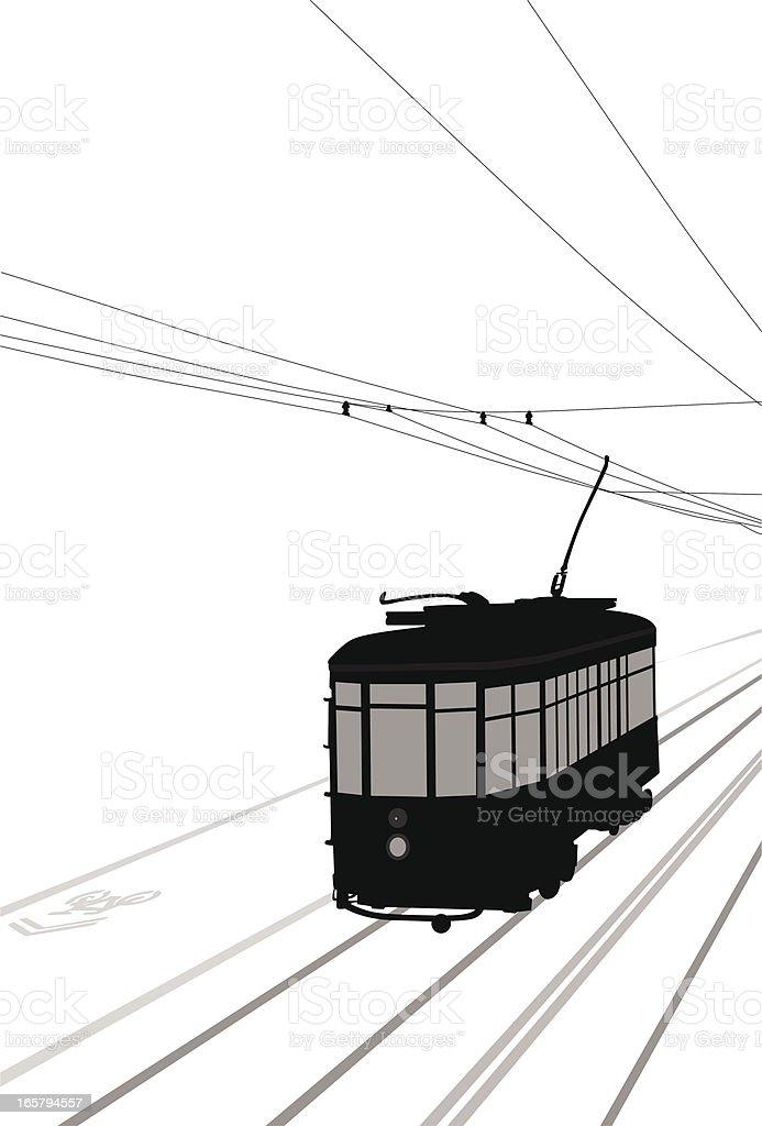 Streetcar Vector Silhouette vector art illustration