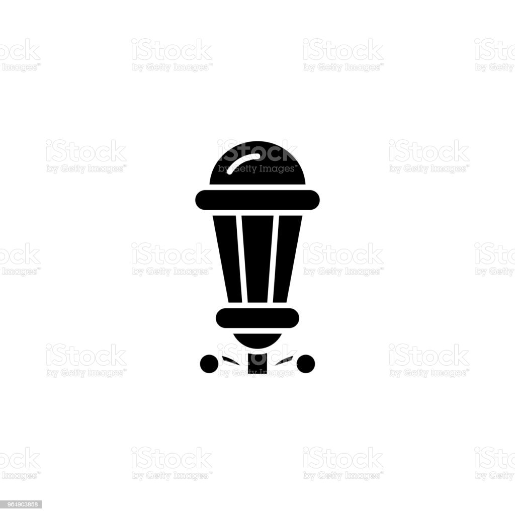 Street-lamp black icon concept. Street-lamp flat  vector symbol, sign, illustration. royalty-free streetlamp black icon concept streetlamp flat vector symbol sign illustration stock vector art & more images of antique