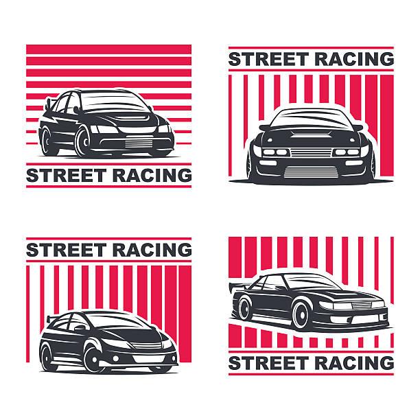 streetracing emblem set Set of four sport cars logo, badge illustration on white background. Drift, Drag racing, Tuning, Motor Sport. Vector EPS 10. snowdrift stock illustrations