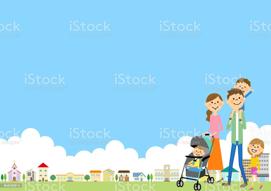 Streets and the family vector art illustration