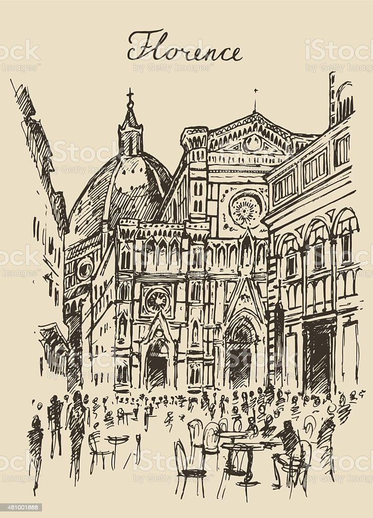 Streets Florence Italy Trevi Fountain Hand Drawn vector art illustration