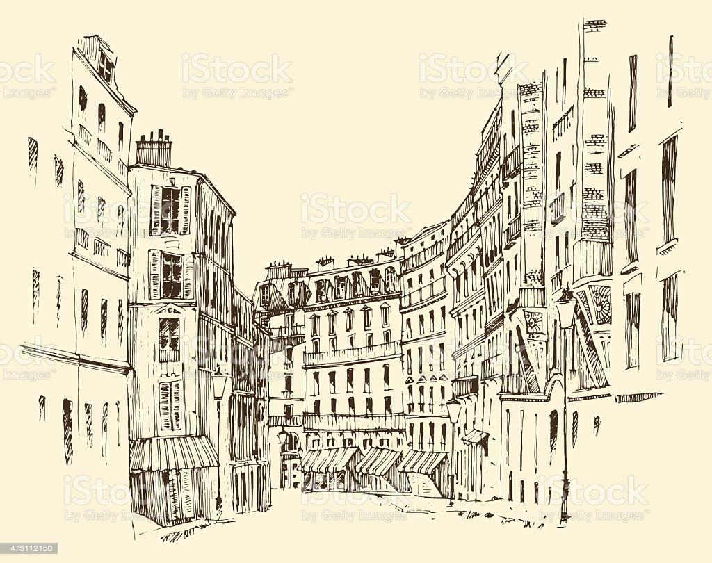 streets in Paris, France, vintage engraved illustration, hand drawn vector vector art illustration