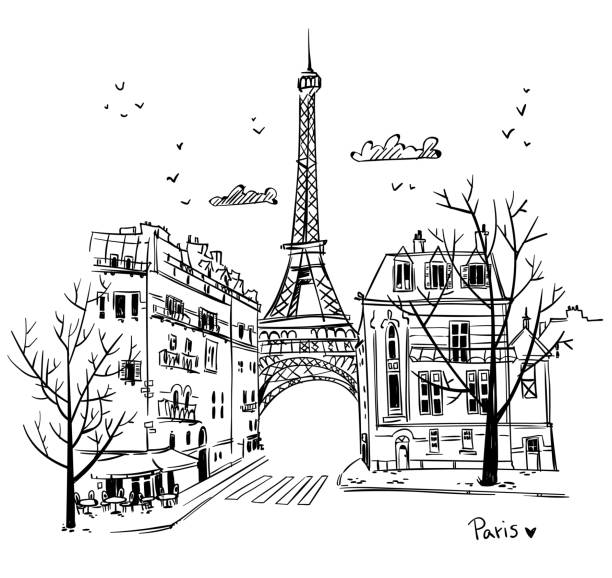 illustrations, cliparts, dessins animés et icônes de croquis des rues de paris, illustration vectorielle - paris