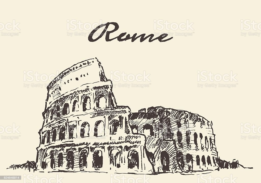 Streets Rome Colosseum vector drawn sketch vector art illustration